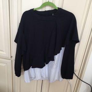 Zara Sweatshirt Shirting Combo Top with Ruffles